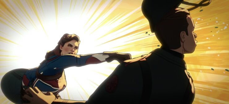 Captain Carter, in episode 1 of Marvel's What If...?, proves her might against those who would challenger her