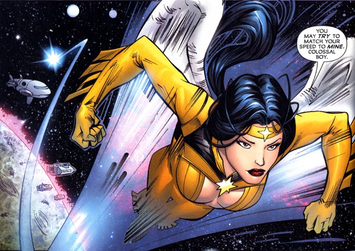 Dawnstar comes from the planet Starhaven, which means her wings allow her to fly among the stars