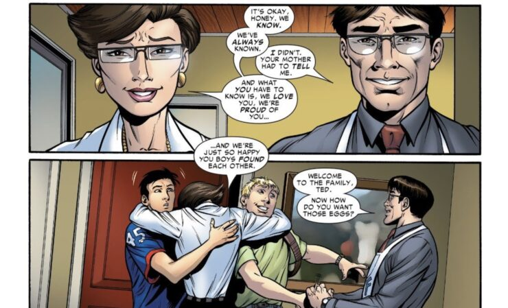 Hulkling and Wiccan unexpectedly come out to Billy's parents as a couple, and are met with love and acceptance
