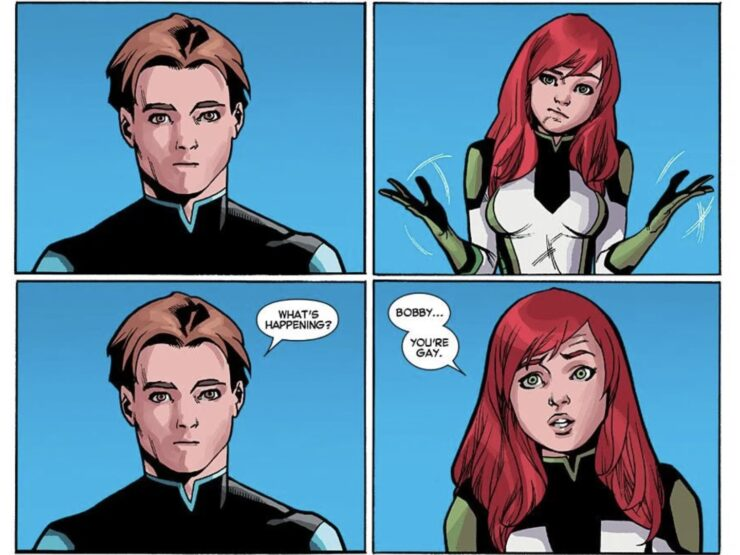 As the original members of the X-Men must deal with their past and present selves, Jean Grey uses her telepathy to out Bobby Drake as gay
