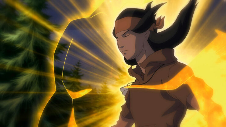 Tye Longshadow is the most recent version of Apache Chief, who has the ability to astral project into a giant, super strong form