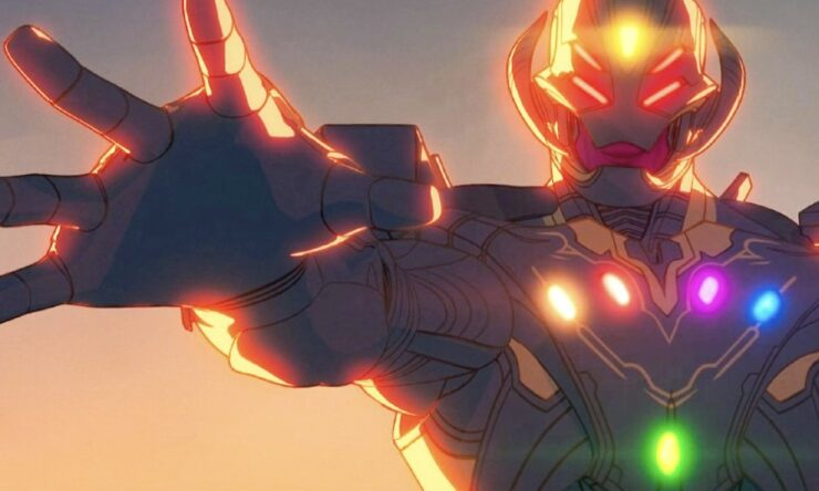 After Ultron brings peace to Earth through his destruction, he manages to take all six Infinity Stones from Thanos